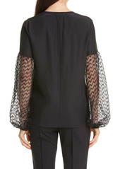 Lafayette 148 New York Val Lace Balloon Sleeve Silk Blouse