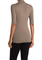 Lafayette 148 Quarter Zip Short Sleeve Ribbed Knit Pullover