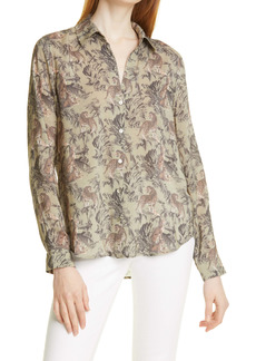 L'AGENCE Holly Leopard Print Blouse