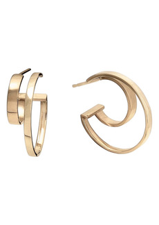 Lana Jewelry Connecting Double Row Small Flat Hoop Earrings