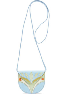 Lanvin Woman Mask Small Textured-leather And Suede Shoulder Bag Light Blue