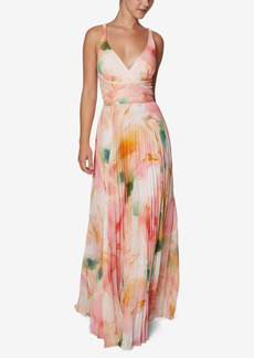 Laundry by Shelli Segal Marble Chiffon Pleated Gown