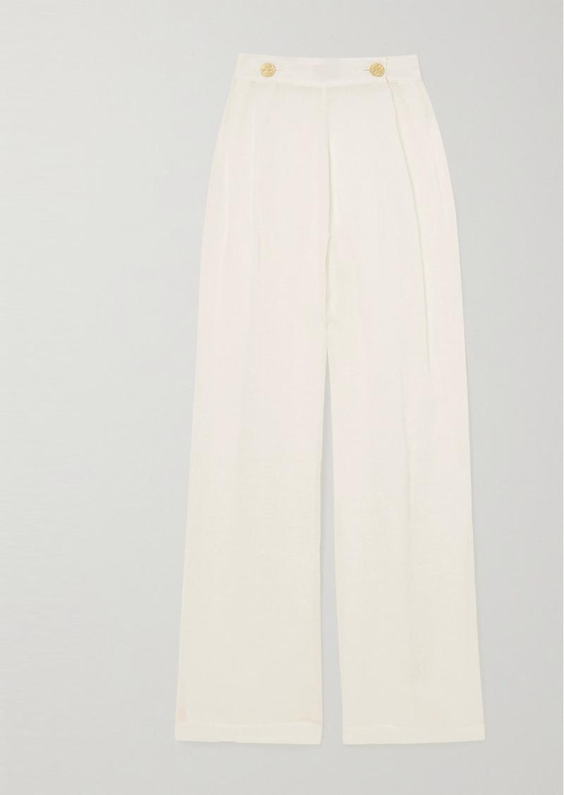 Le Kasha Net Sustain X Lg Electronics Pleated Organic Linen-gauze Wide-leg Pants