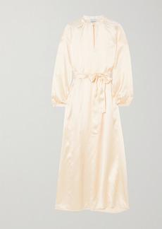 Le Kasha Quetta Belted Silk-satin Maxi Dress