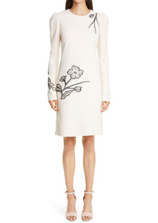 Lela Rose Long Sleeve Floral Embroidered Wool Crepe Tunic Dress