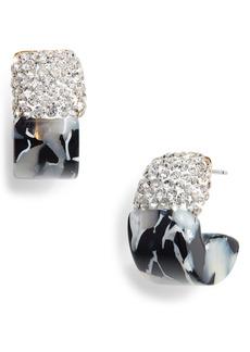 Lele Sadoughi Crystal Colorblock Huggie Hoop Earrings
