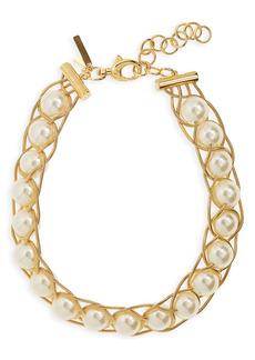 Lele Sadoughi Imitation Pearl Braided Collar Necklace