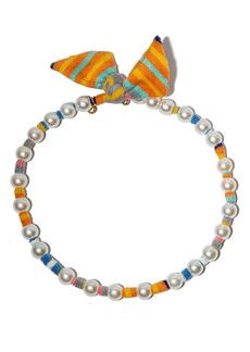 Lele Sadoughi Imitation Pearl Scarf Necklace