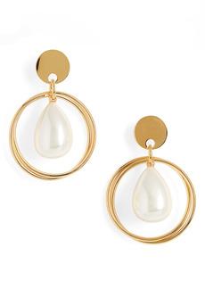 Lele Sadoughi Imitation Pearl Teardrop Hoop Earrings