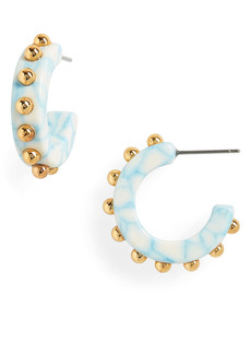 Lele Sadoughi Studded Block Huggie Hoop Earrings