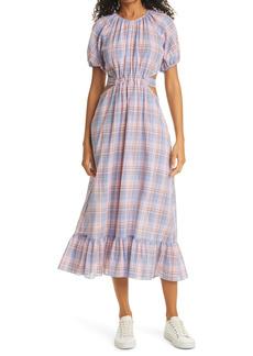 LIKELY Payson Side Cutout Plaid Midi Dress