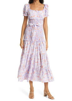 LIKELY Taylor Floral Smocked & Belted Tiered Dress