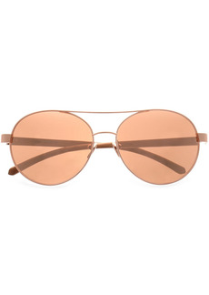 Linda Farrow Woman Aviator-style Rose Gold-tone  And Wood Sunglasses Rose Gold
