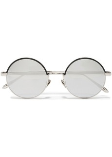 Linda Farrow Woman Round-frame Silver-tone And Acetate Mirrored Sunglasses Silver