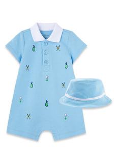 Little Me Golf Romper & Hat Set (Baby)