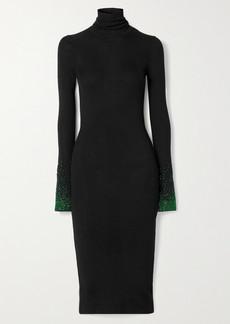 Loewe Embellished Ribbed Wool Turtleneck Dress