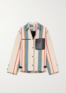 Loewe Leather-trimmed Striped Wool Jacket