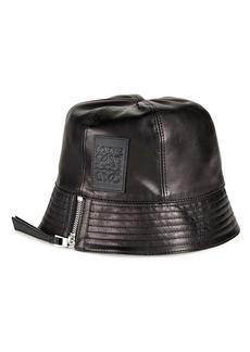 Loewe Logo Patch Leather Bucket Hat
