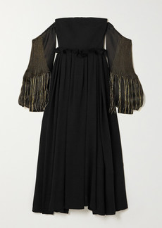 Loewe Off-the-shoulder Leather-trimmed Wool And Embroidered Silk-organza Gown