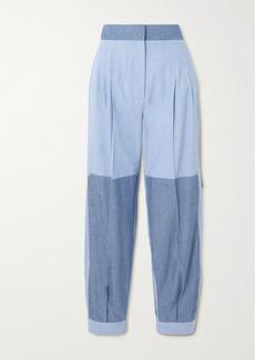 Loewe Paneled Two-tone Cotton-chambray Tapered Pants