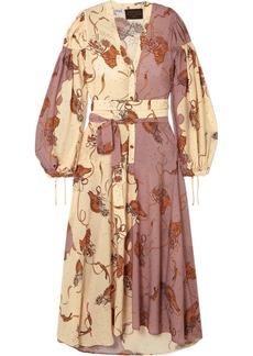 Loewe Paula's Ibiza Belted Printed Crepe De Chine Maxi Dress