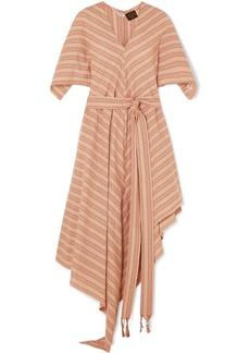 Loewe Paula's Ibiza Belted Striped Cotton-gauze Midi Dress
