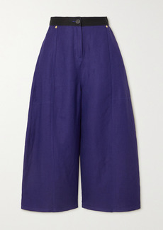 Loewe Two-tone Linen-blend Drill Wide-leg Culottes