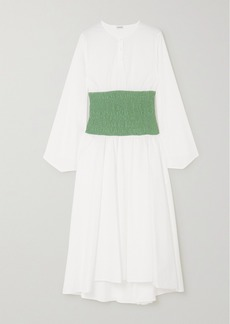 Loewe Two-tone Smocked Cotton-blend Poplin Midi Dress