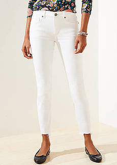 LOFT Curvy Chewed Hem Mid Rise Slim Pocket Skinny Crop Jeans in White