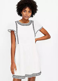 LOFT Embroidered Flutter Sleeve Dress