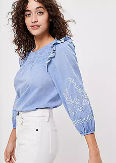 LOFT Embroidered Smocked Blouse
