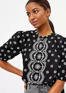 LOFT Eyelet Puff Sleeve Top