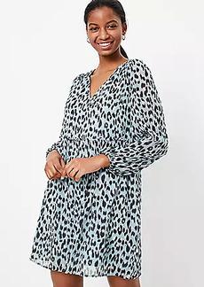 LOFT Leopard Print V-Neck Swing Dress