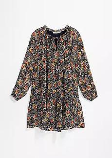 LOFT Maternity Floral Tie Neck Swing Dress