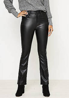 LOFT Petite Faux Leather Flare Crop Jeans in Black