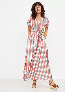 LOFT Petite Striped Pocket Maxi Shirtdress