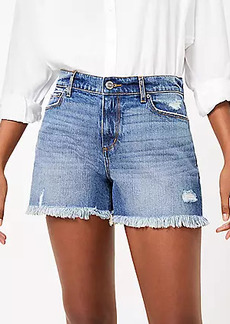 LOFT The Curvy High Waist Cut Off Denim Short in Rich Indigo