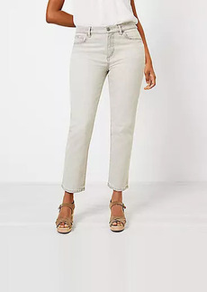 LOFT Curvy High Rise Straight Crop Jeans in Light Grey Wash