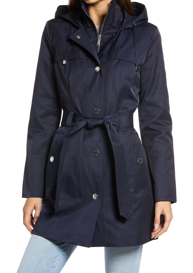 London Fog Hooded Trench Coat with Bib Inset