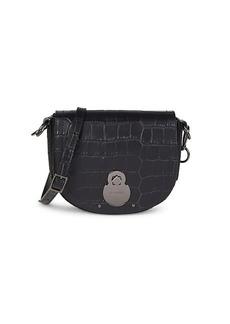 Longchamp Croc-Embossed Leather Saddle Bag