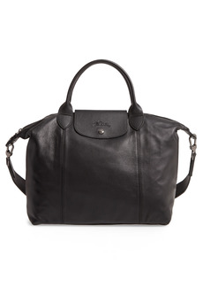Longchamp Medium Le Pliage Cuir Leather Top Handle Tote - Black