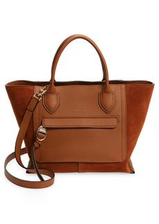 Longchamp Medium Mailbox Suede & Leather Top Handle Bag