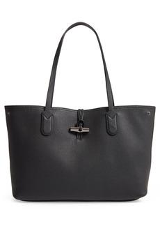 Longchamp Roseau Essential Mid Leather Tote - Black
