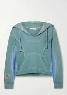 LoveShackFancy Alouette Distressed Paneled Cotton-jersey And Terry Hoodie