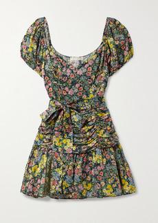 LoveShackFancy Ambrette Belted Ruched Floral-print Sateen Mini Dress