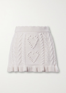 LoveShackFancy Brendana Ruffled Cable-knit Mini Skirt