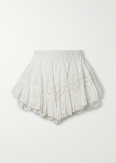LoveShackFancy Briella Lace-trimmed Broderie Anglaise And Swiss-dot Cotton-voile Mini Skirt