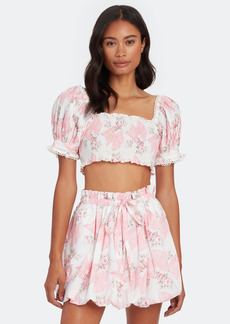 LoveShackFancy Calypso Puff Sleeve Crop Top - M