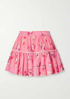 LoveShackFancy Jennings Crochet-trimmed Floral-print Cotton-seersucker Mini Skirt
