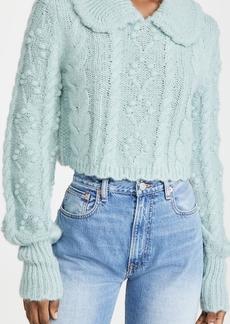 LoveShackFancy Berget Cropped Collared Sweater